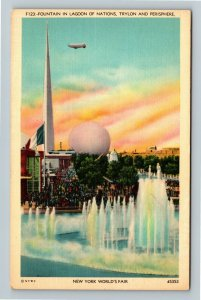 1939 New York World's Fair - Trylon and Perisphere, Lagoon of Nations Postcard