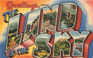 North Carolina~The Land Of The Sky~Large Letter Linen Postcard~1940~Post Card