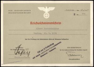 3rd Reich Germany Hitler Youth 1943 Reichsschwimmschein Swimming Award 77206