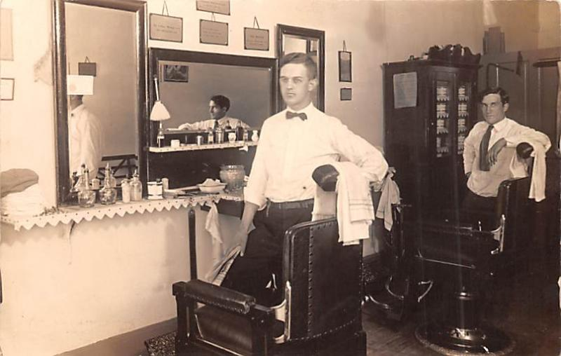 Postcard Barber Shop Real Photo