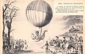 Artist Drawn~1783 Hydrogen Balloon~Man Ornate Basket~France Aerostation History
