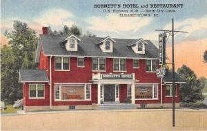 Elizabethtown Kentucky Burnetts Hotel and Restaurant Antique Postcard J52853