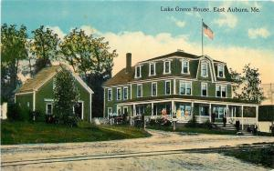 East Auburn Maine~Lake Grove House~Horse Buggy~Folks on Veranda~RR Tracks~1907
