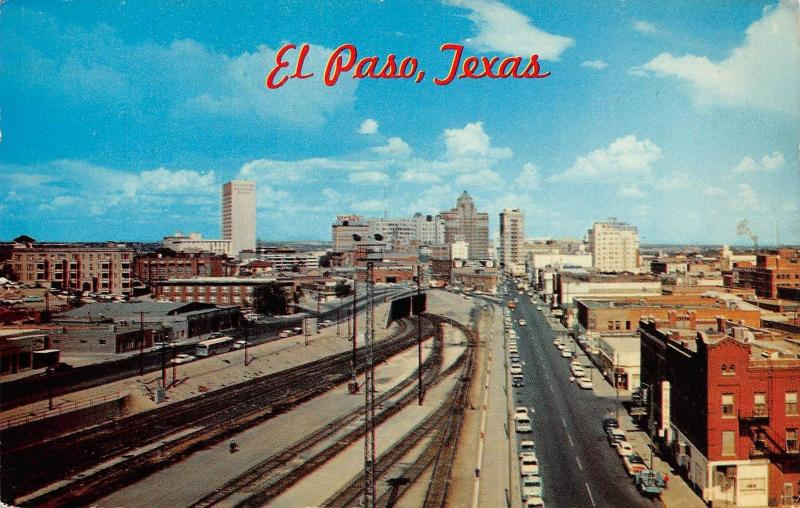 Texas El Paso Downtown, East up San Francisco Street Union Depot 1964