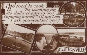 No Housework Food To Cook Washing Up Cliftonville Kent Old Real Photo Postcard