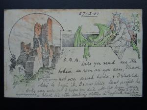 German Castle & Folklore DRACHENFELS KONIGSWINTER c1901 UB Postcard by Kungtler