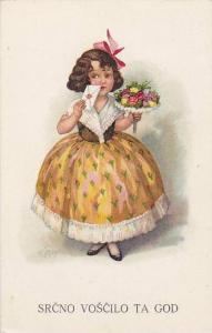 Girl in yellow dress greetings , 00-10s