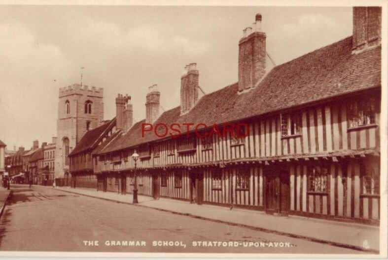 Tuck & Sons Real Photograph THE GRAMMAR SCHOOL - STRATFORD-UPON-AVON, ENGLAND