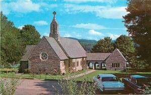 Lake Junaluska North Carolina~Memorial Chapel~1950s Cars~Postcard