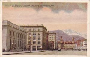 Colorado Colorado Springs Pikes Peak Avenue Showing Post Office Antlers Hotel...