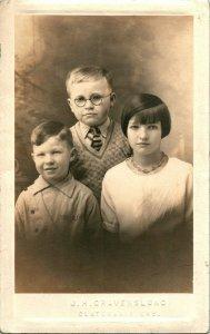 Vtg Postale Cppr Portrait De 3 Enfants Don, Archie & Manie Clatskanie Ou 1930s