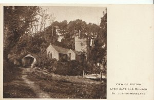 Cornwall Postcard - View Bottom Lych Gate & Church - St Just-in-Roseland  ZZ1470