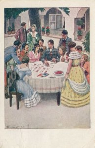 AS: BICZO ANDRAS, 1934; Crowd watching man playing card game Patience