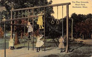 Rochester MN Little Girls @ Playground~Rings, Monkey Bars, Rope~Home Behind 1910