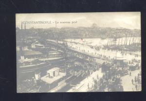 RPPC CONSTANTINOPLE TURKEY LE NOUVEAU PONT BRIDGE OLD REAL PHOTO POSTCARD