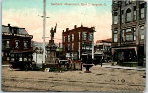 1910s East Liverpool, Ohio Postcard Soldiers' Monument Popcorn Wagon - Unused