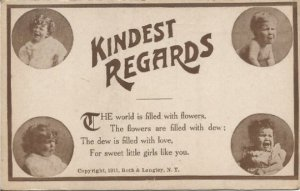 Kindest Regards The world is filled with flowers... Funny Vintage Postcard