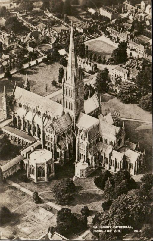 Salisbury Cathedral aerial view UK