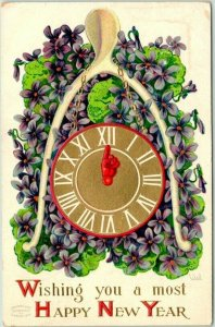 1910s Artist-Signed WALL Greetings Postcard Wishing You a Most HAPPY NEW YEAR