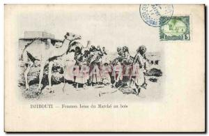 Old Postcard Cote des Somalis Djibouti Femmes Issas of walking wood