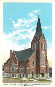 Des Moines Iowa~First Lutheran Church on East 5th & Des Moines Streets~1920s