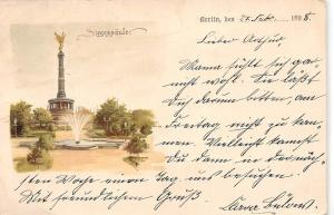 Germany Berlin Victory Column, Monument, Fountain, Siegessaeule 1898 litho