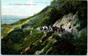 Vintage Southern Calif. Postcard On a California Mountain Trail Rieder c1910s