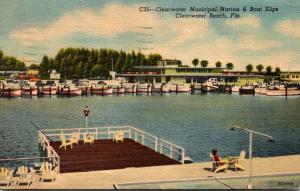 Florida Clearwater Beach Municipal Marina & Boat Slips 1955 Curteich