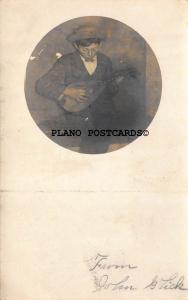 JOHN GLICK PLAYING THE MANDOLIN-VINTAGE PHOTO RPPC REAL PHOTO POSTCARD