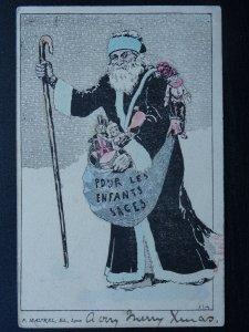 French Christmas Greeting FATHER CHRISTMAS Pour Les Enfants Sages c1908 Postcard