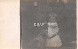 C17/ People Real Photo RPPC Postcard c1910 Child with Pet Dog Smile 5