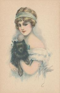 ART DECO ; Female with small black dog, 1910-20s