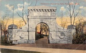 Port Huron Michigan~Pine Grove Park Gate~Stone Drinking Fountain~CA Ward~c1912