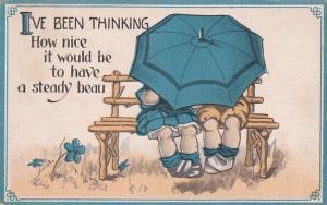 Children Sitting On Bench Under Umbrella 1915