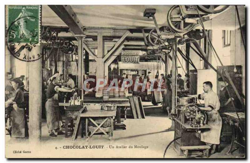 VINTAGE POSTCARD Louit Chocolate a workshop of the moulding