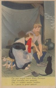 AS: SCHERMELE; 1920-30s; Klein Duimpje, Tom Thumb, parents sad, black cat