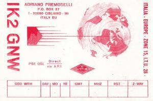 Cisliano Italy QSL 1990s Amateur Italian Radio Postcard