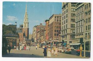 Boston MA Park Street Church Tremont Vintage Postcard