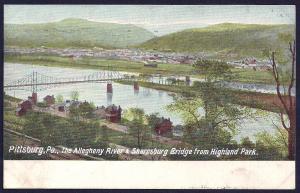 Allegheny River Sharpsburg Bridge Pittsburg PA used c1907