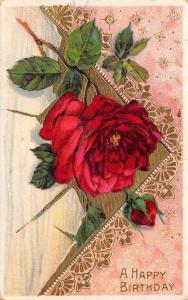 Red Rose & Bud on Pink White Envelope~Lacy Gold Leaf~Germany~GEL Postcard