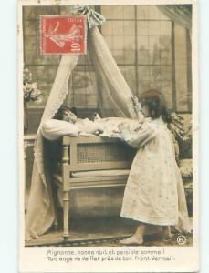 tinted rppc c1910 CHILD SLEEPING AC9031