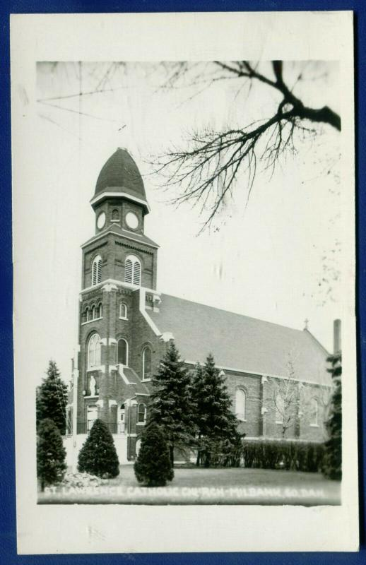 St Lawrence Catholic Church South Dakota sd old real photo postcard RPPC