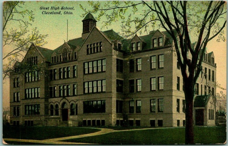 1910s Cleveland, Ohio Postcard WEST HIGH SCHOOL Building / Street View