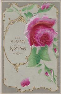 Embossed, A Happy Birthday, Red Rose, Gold detail, 10-20s