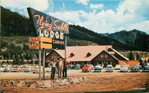 1958 Flying Saddle Lodge automobiles Intermountain postcard 4270 ALPINE WYOMING