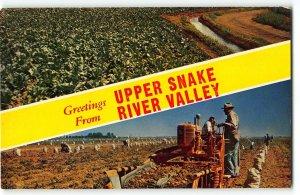 Greetings from UPPER SNAKE RIVER VALLEY Idaho Farming - Vintage Postcard