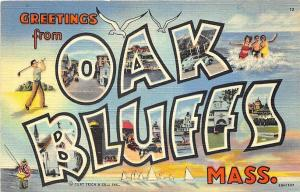 Oak Bluffs MA Curt Teich Large Letters Postcard
