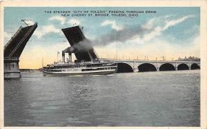 Steamer   City of Toledo passing through Draw New Cherry St.  Bridge, T...