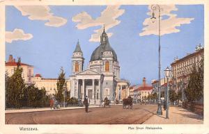 Poland Old Vintage Antique Post Card Plac Stego Aleksandra Warszawa Black Pap...