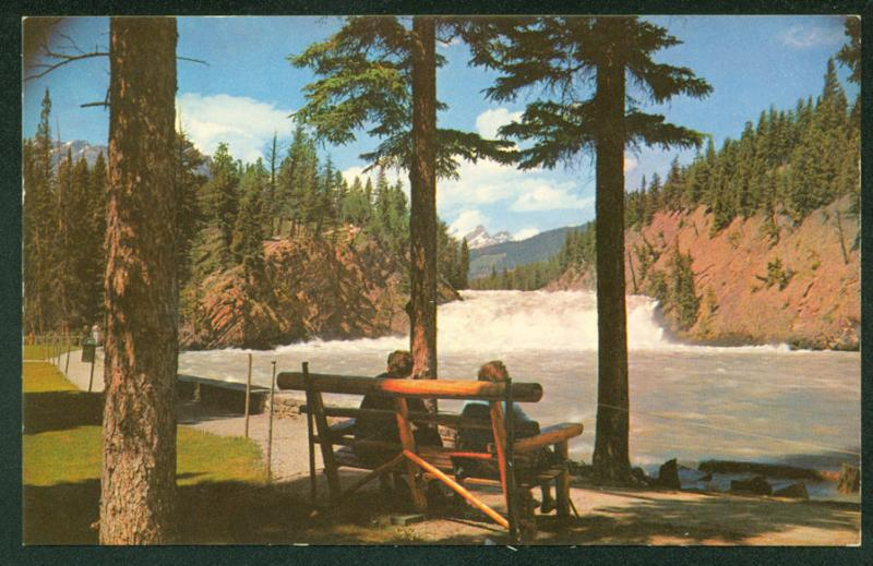 Canada Bow Falls River People on Bench Canadian Rockies Banff Park Postcard